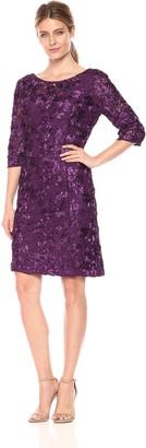 Alex Evenings Women's Plus Short Rosette Shift Dress with 3/4 Sleeves (Petite and Regular Sizes)