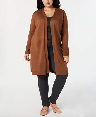 JM Collection Plus Size Lace-Up-Cuff Duster Cardigan
