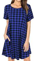 Faddare Women's Casual Loose Fit Short Sleeve Plaid Tunic Dress