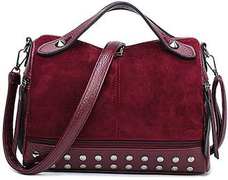 Ella & Elly Women's Handbags Red - Red Rivets Crossbody Bag