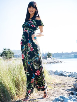 New York & Co. Petite Floral Print Off-Shoulder Maxi Dress
