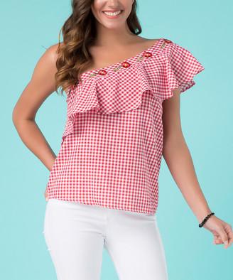 Milan Kiss Women's Button Down Shirts PINK - Red & White Gingham Ruffle-Accent Asymmetrical Blouse - Women