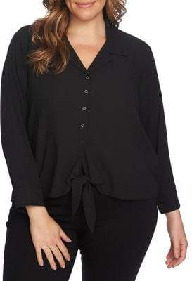 1.STATE Long-Sleeve Tie-Front Blouse