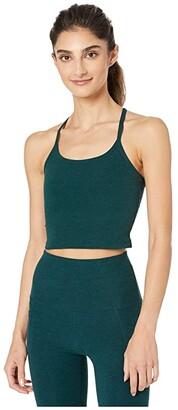 Beyond Yoga Spacedye Slim Racerback Cropped Tank Top (Black/Charcoal) Women's Sleeveless