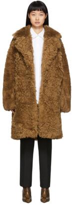 Yves Salomon Meteo Brown Curly Shearling Coat