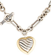 David Yurman Two-Tone Cable Heart Toggle Necklace