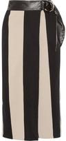 Petar Petrov Leather-trimmed Striped Cotton-burlap Wrap Midi Skirt - Sand