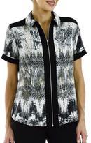 Haggar Women's Short Sleeve Zip Front Shirt