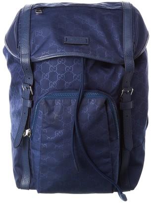 Gucci Blue Guccissima Nylon Backpack