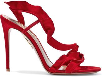 Aquazzura 105 Ruffled Suede Slingback Sandals