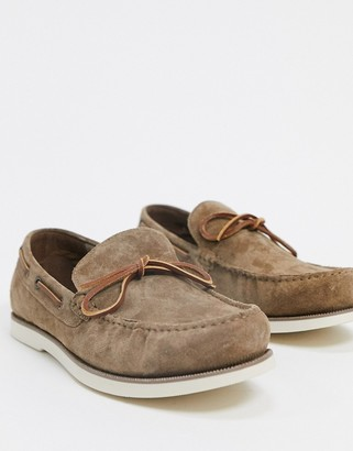 Burton Menswear suede loafers in brown