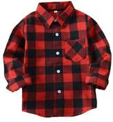 Tortor 1bacha Little Girls' Long Sleeve Button Down Plaid Shirt Fleece Lined