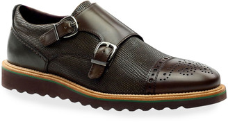 Ike Behar Men's Monza Double-Monk Brogue Leather Loafers