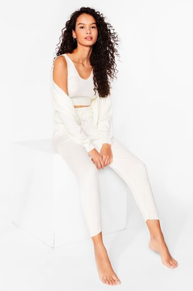 Nasty Gal Womens Give Knit a Rest 3-Pc Lounge Set - Cream