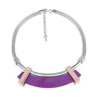 Front Row Silver Colour and Rose Gold Curved Purple Bar Necklace of Length 54cm