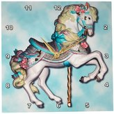 3drose Carousel Horse in Wall Clock, 10 by 10-Inch