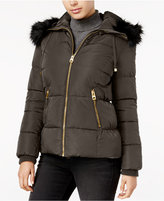 GUESS Faux-Fur-Trim Hooded Puffer Coat, Only at Macy's