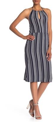 Velvet Torch Halter Striped Midi Dress