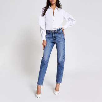 River Island Womens White long ruched sleeve shirt