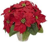 Nearly Natural Red Silk Poinsettia Flower Arrangement Ceramic Vase