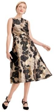 Adrianna Papell Floral-Print Metallic A-Line Dress