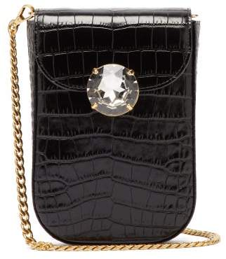 Miu Miu Crocodile-effect Mini Leather Cross-body Bag - Womens - Black