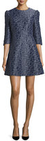 Co 3/4-Sleeve Textured Mini Dress, Navy