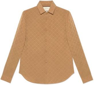 Gucci Women's check GG silk crepe shirt