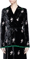 MS MIN Floral embroidered crushed velvet wrap top