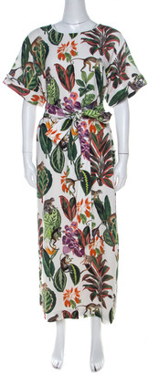 Oscar de la Renta White Jungle Print Silk Stretch Maxi Dress S