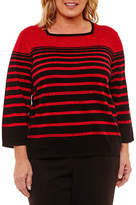 Alfred Dunner Fall Classic Long Sleeve Crew Neck Pullover Sweater-Plus