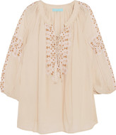 Melissa Odabash Avalon pointelle-trimmed embroidered voile coverup
