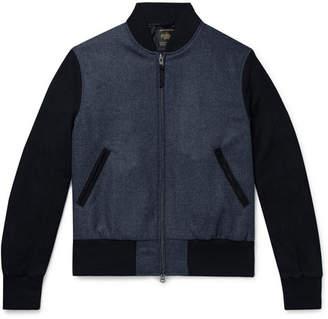 GoldenBear Golden Bear The Player Suede-Panelled Melton Wool Bomber Jacket