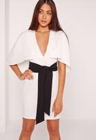 Missguided Cape Kimono Belt Bodycon Dress White