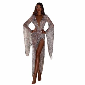Your New Look Women's Sequins Tassels Deep V Side Split Flare Sleeve Evening Dress Sexy V Neck Long Sleeve Cocktail Dress for Party Event White