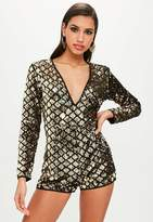 Missguided Sequin Long Sleeved Playsuit