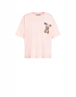 Moschino Jersey T-shirt Teddy Embroidery Woman Pink Size 36 It - (2 Us)