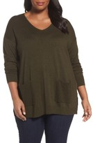 Sejour Plus Size Women's Mixed Media Pullover
