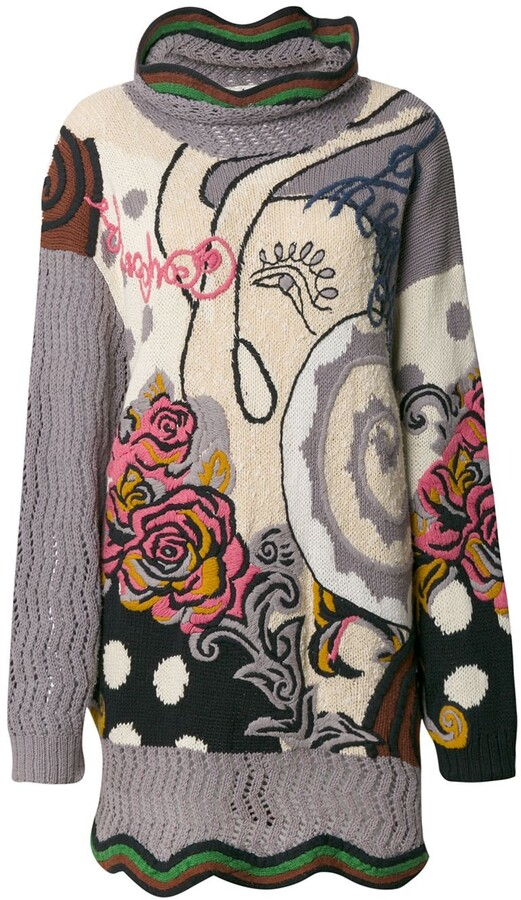 Kansai Yamamoto Pre-Owned 1990s Floral Embroidered Knitted Jumper