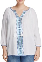 NYDJ Plus Embroidered Peasant Blouse - 100% Exclusive