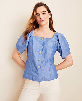 Ann Taylor Petite Chambray Puff Sleeve Top