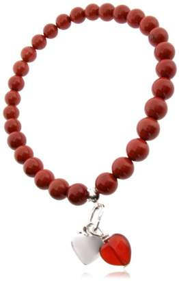 Earth Red Carnelian Heart and Sterling Silver Heart Charm on Red Jasper Beaded Stretch Bracelet - from the Collection