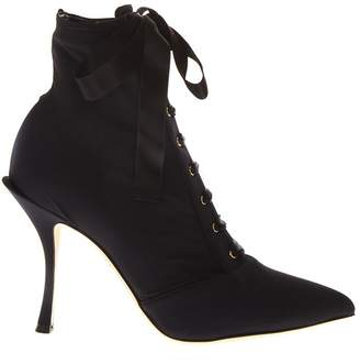 Dolce & Gabbana Black Lace-up Ankle Boots