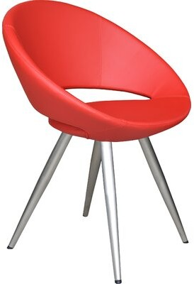 sohoConcept Crescent Star Papasan Chair Fabric: PPM White Faux Leather, Leg Color: Stainless Steel