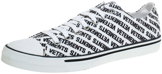 Vetements White/Black Logo Print Canvas Low Top Sneakers Size 44
