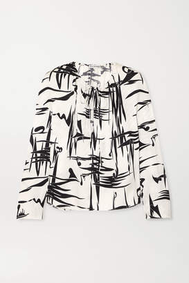 Balenciaga Printed Silk-jacquard Blouse - White
