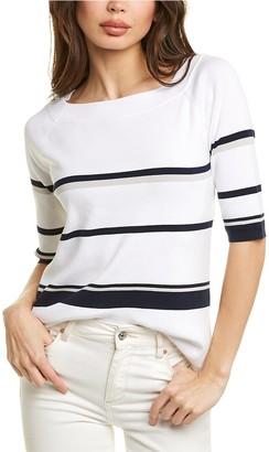 Forte Cashmere Stripe Square Neck Cashmere Sweater