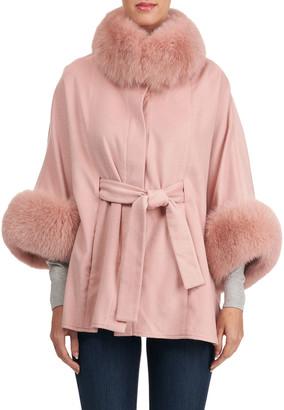Gorski Cashmere Belted Cape w/ Fur Collar & Cuffs