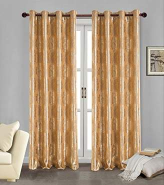 BEIGE RT Designers Collection Marabella Jacquard Blackout Grommet Curtain Panel, Gold, 54 x 84-Inch