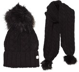 Mayoral Black Faux Fur Pom Pom Knitted Hat and Scarf Set